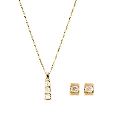 9ct yellow gold trilogy diamond pendant and product image