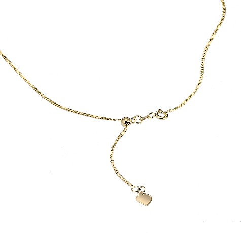 Sliding adjuster 18ct yellow gold curb chain 20