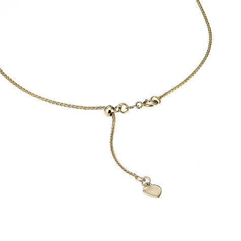 Adjustable 9ct yellow gold spiga chain 20