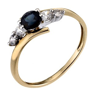 9ct Yellow Gold Sapphire Cubic Zirconia Kick Ring