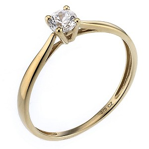 9ct Yellow Gold Cubic Zirconia 1/4 Carat Look Solitaire Ring