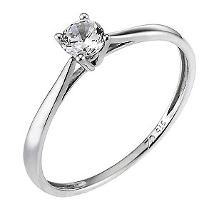 9ct White Gold Cubic Zirconia 1/4 Carat Look Solitaire Ring