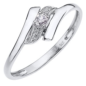 9ct White Gold Cubic Zirconia Wave Ring