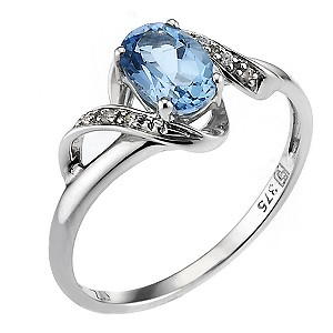 9ct White Blue Topaz Cubic Zirconia Spiral Ring