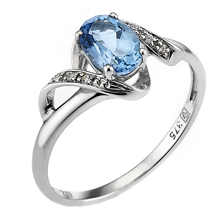 9ct White Blue Topaz Cubic Zirconia Spiral Ring - Product number 6683274