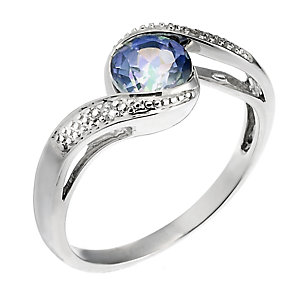 Twilight Collection 9ct White Gold Mystic Topaz Twirl Ring - Product number 6684637