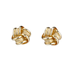 9ct gold satin and polished knot stud earrings - Product number 6693334