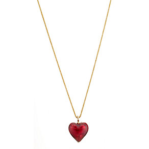 9ct yellow gold murano glass heart pendant - Product number 6693768