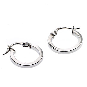 9ct white gold 10mm creole hoop earrings - Product number 6693784