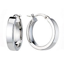 9ct white gold square edge 15mm flat hoop earrings - Product number 6695590