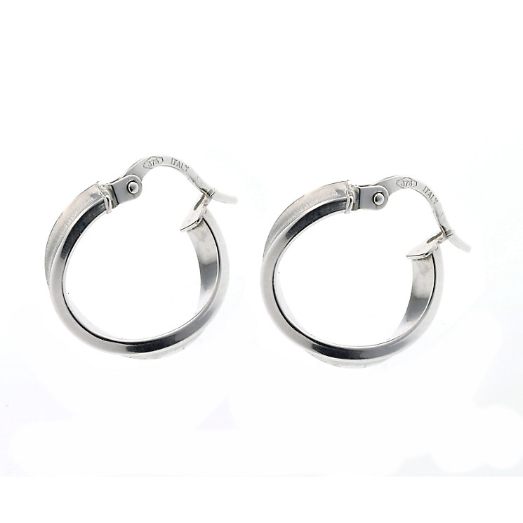 9ct white gold twist creole hoop earrings - Product number 6696244