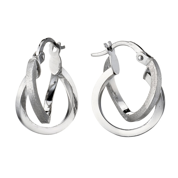 9ct white gold 10mm double creole earrings - Product number 6699197
