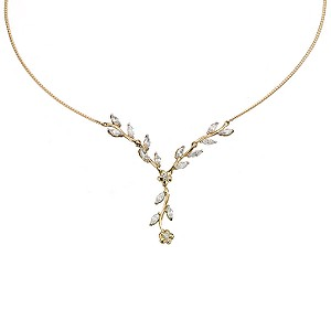 9ct Yellow Gold cubic Zirconia Leaf Necklace