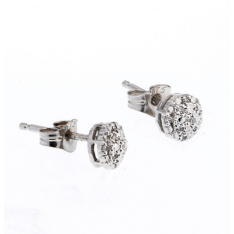 9ct white gold diamond cluster stud earrings product image