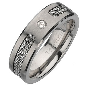 Titanium and diamond rope ring - Product number 6720048