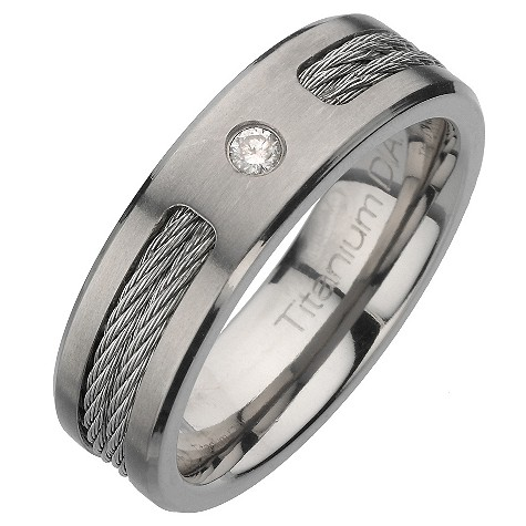 Titanium and diamond rope ring