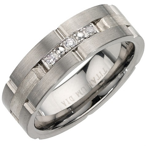 Titanium silver and diamond ring