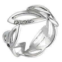 Hot Diamonds Sterling Silver Diamond Leaf Ring Size L - Product number 6721656