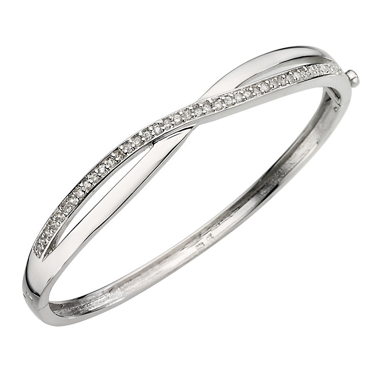 Sterling Silver Crystal Crossover Bangle - Product number 6724094