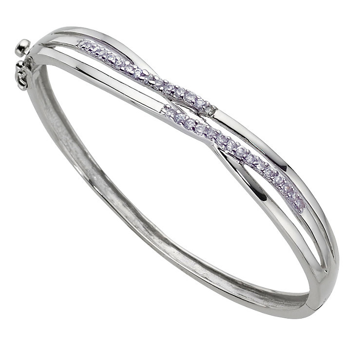 Silver Cubic Zirconia Cross Bangle - Product number 6724108