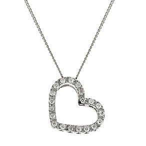9ct white gold diamond set heart shaped pendant - Product number 6724264