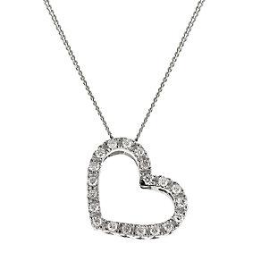 9ct white gold diamond set heart shaped pendant - Product number 6724264