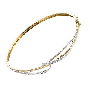 9ct white and yellow gold twist bangle - Product number 6724302