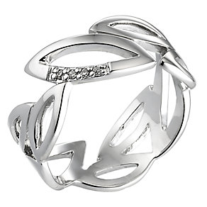 Hot Diamond Sterling Silver Diamond Leaf Ring Size N - Product number 6725856