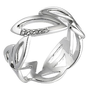 Hot Diamond Sterling Silver Diamond Leaf Ring Size P