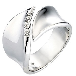 Hot Diamond Sterling Silver Pave Diamond Leaf Ring Size P