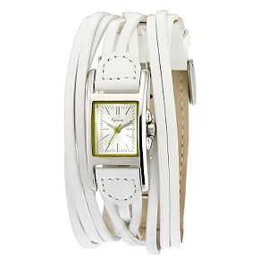 Kahuna White Leather Multi Strap Watch