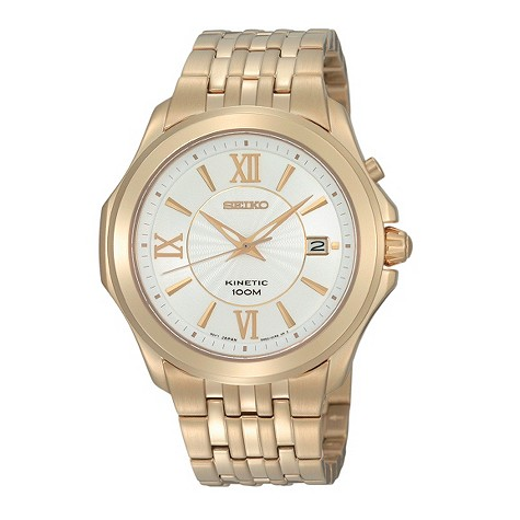seiko Kinetic mens gold plated silver dial