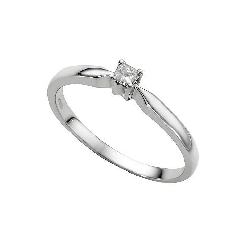 9ct white gold diamond princess cut solitaire ring