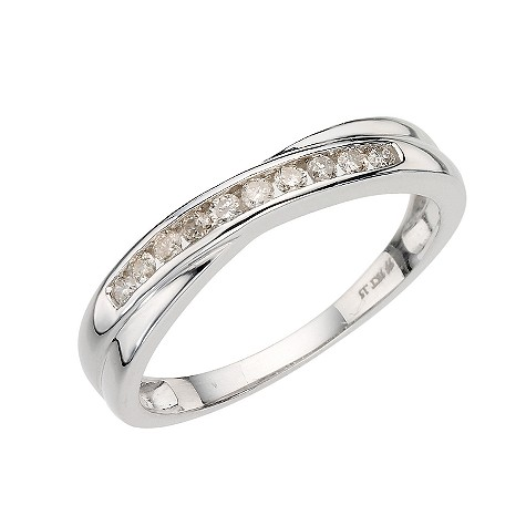 9ct white gold channel set diamond crossover ring