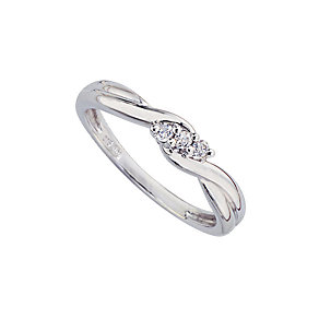 9ct white gold diamond three-stone ring - Product number 6753922