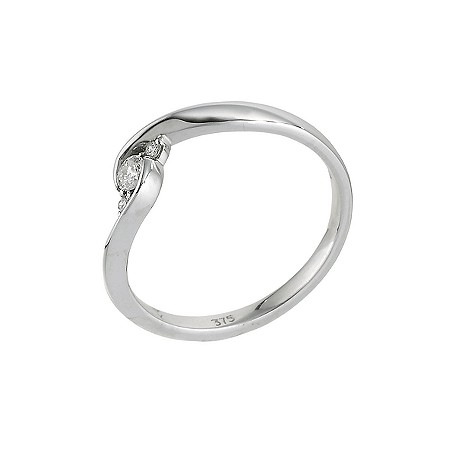 9ct white gold 12 point diamond ring