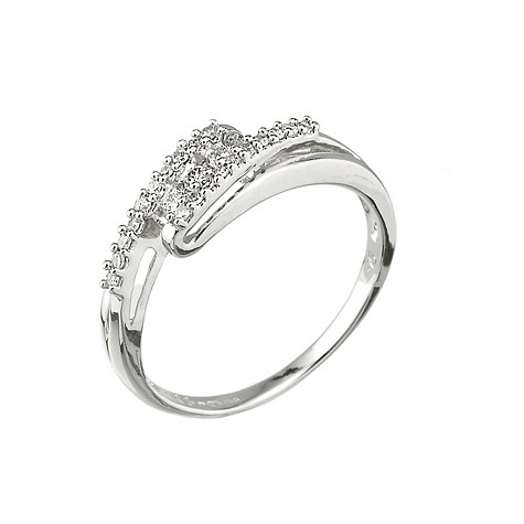 9ct white gold diamond cross over ring