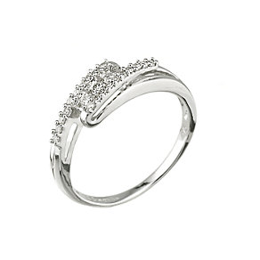 9ct white gold diamond crossover ring - Product number 6754457