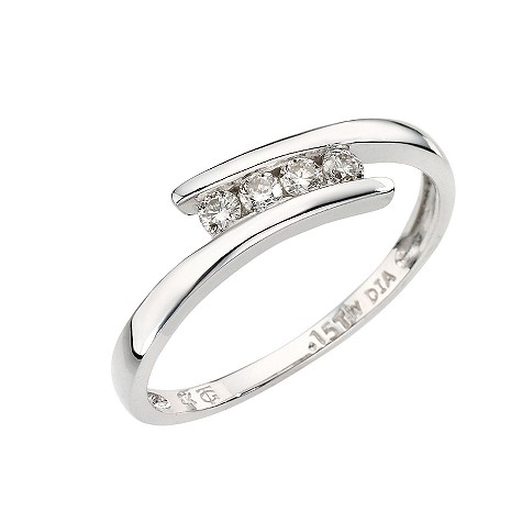 9ct white gold four diamond crossover ring