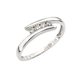 9ct white gold four diamond crossover ring - Product number 6754856