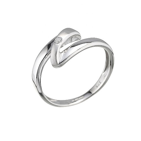9ct white gold diamond twist design ring