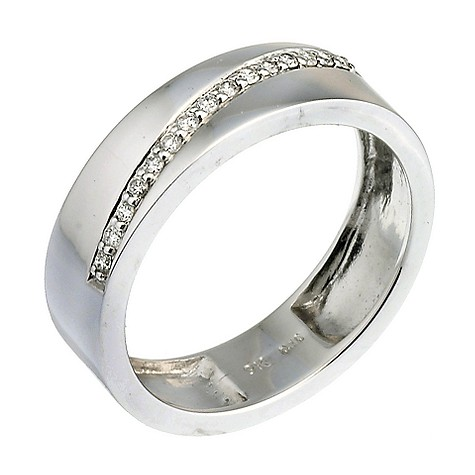 9ct white gold diamond diagonal ring