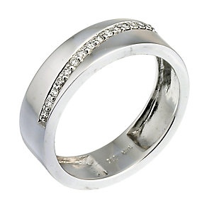9ct white gold diamond diagonal ring - Product number 6757510