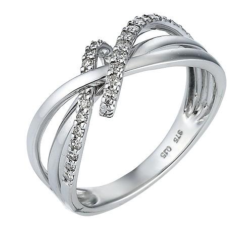 9ct white gold 15pt diamond ring