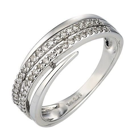 9ct white gold 1/4 carat diamond exclusive ring