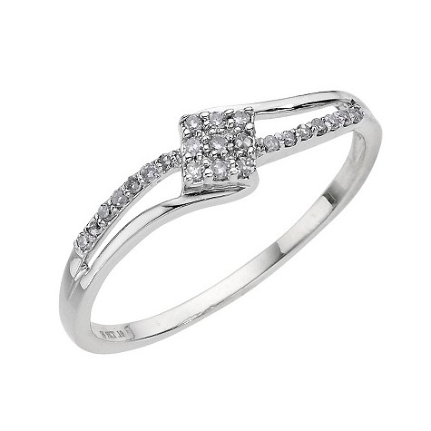 9ct white gold diamond square cluster crossover ring