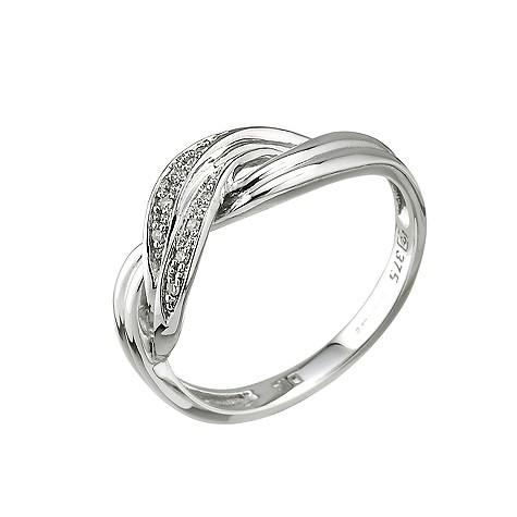 9ct white gold diamond cross over ring