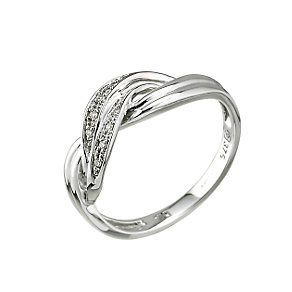 9ct white gold diamond crossover ring - Product number 6761461