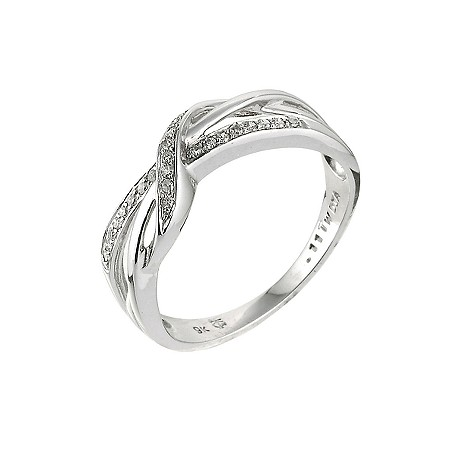 9ct white gold 10 point diamond crossover ring