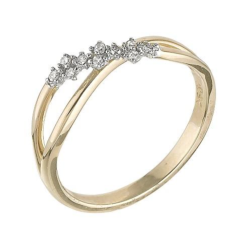 9ct gold diamond set ring